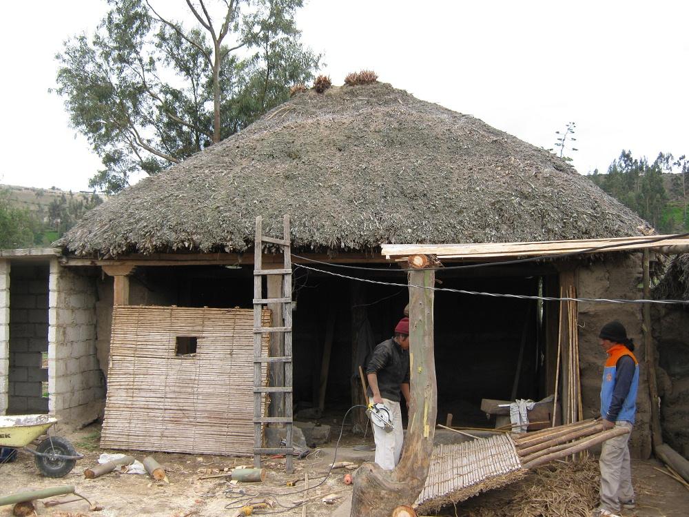 Salasaca huasalata 8 construcci n de una casa con carrizo - Construir una vivienda ...